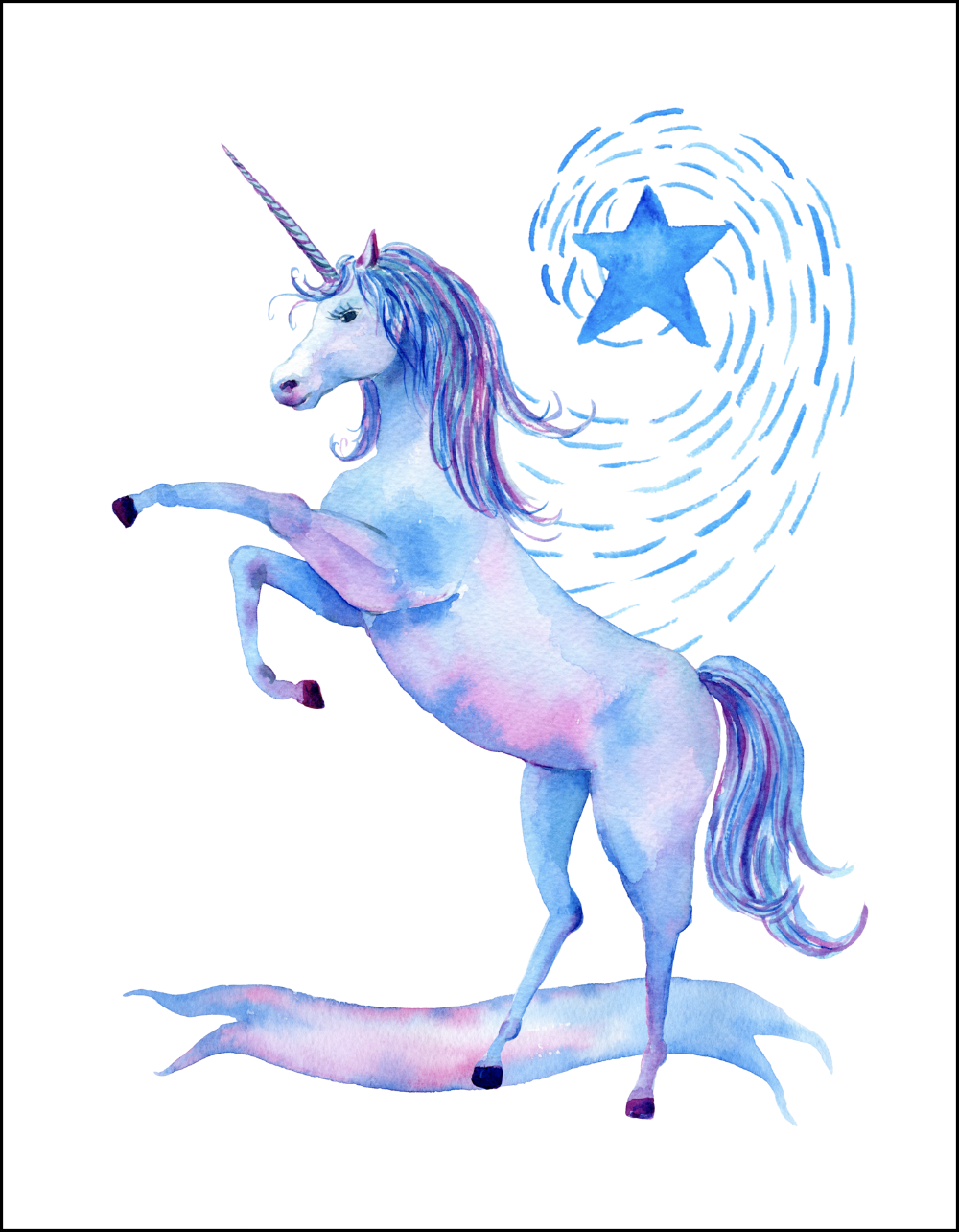 Free printable watercolor unicorn pictures for Chambre unicorn