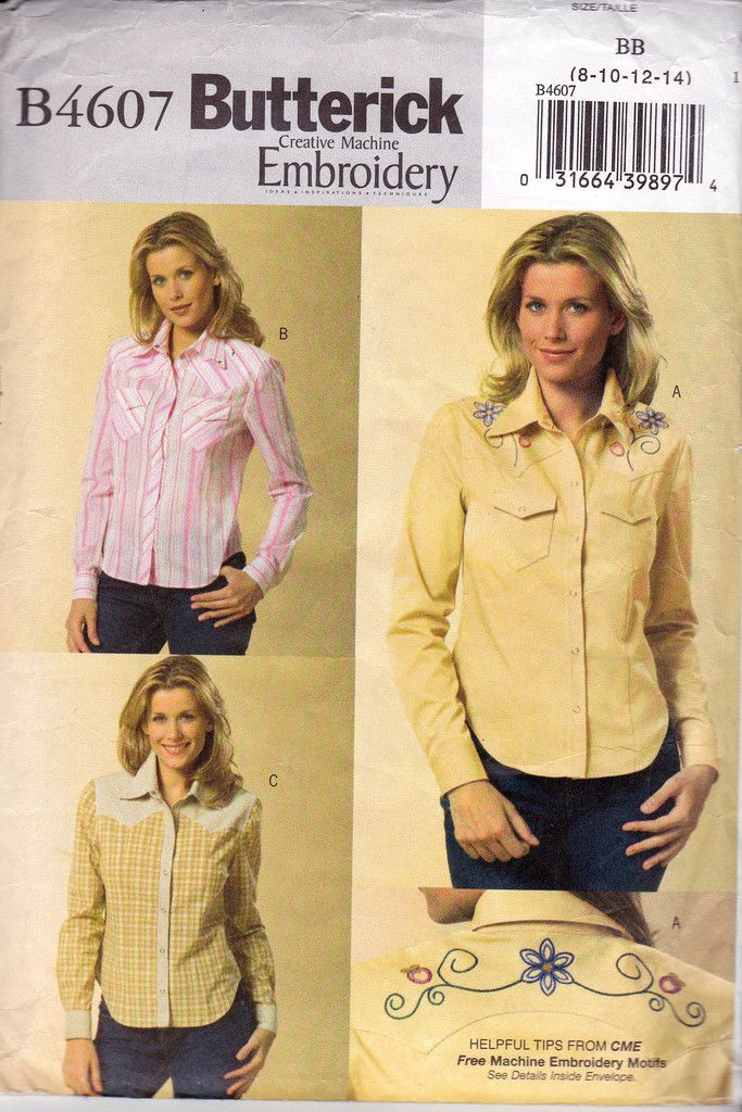 Western Shirt Patterns For Women's : western, shirt, patterns, women's, Womens, Western, Shirt, Pattern, Butterick, Pattern,, Shirts,, Style