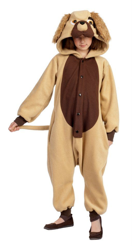 CHILD BIG BROWN DOG COSTUME PUPPY CANINE FARM ANIMAL JUMPSUIT BOYS GIRLS KIDS