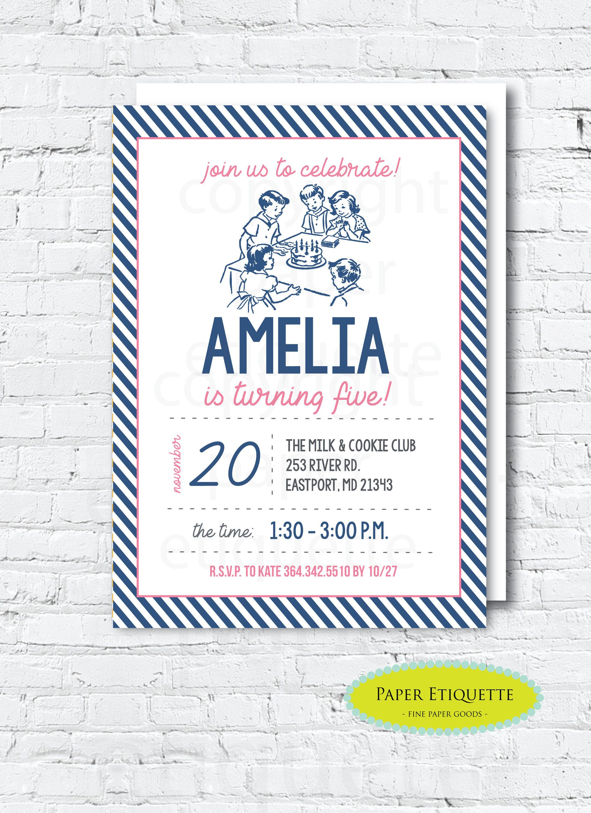 Retro Childrens Birthday Party Invite Vintage First Oh What