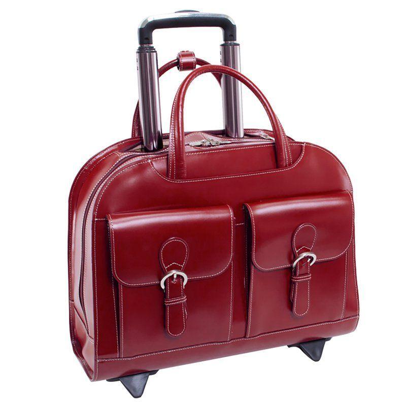 Davis Wheeled Ladies Laptop Case - Red - 96186A, McKlein USA