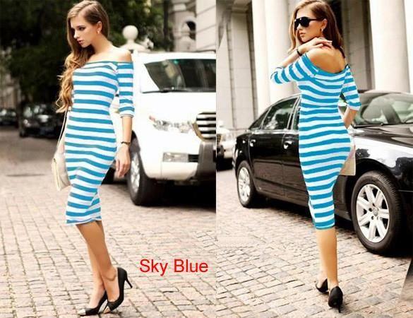 7fec4b47963 2015 Women Summer Dress Lady Sexy Half Sleeve Off Shoulder Stripe Stretch Bodycon  Party Dresses Cotton Blends S-XL 30