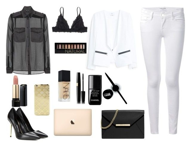 """black n white"" by danaceciliamonroe ❤ liked on Polyvore featuring Tom Ford, Frame Denim, MANGO, Monki, MICHAEL Michael Kors, Sonix, NARS Cosmetics, Maybelline, Forever 21 and le top"