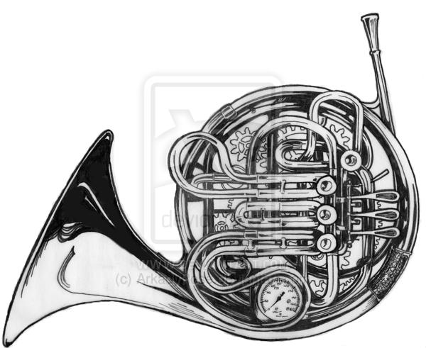 Steamunk French Horn By Arkadyrose On Deviantart French Horn Horns Music Tattoo