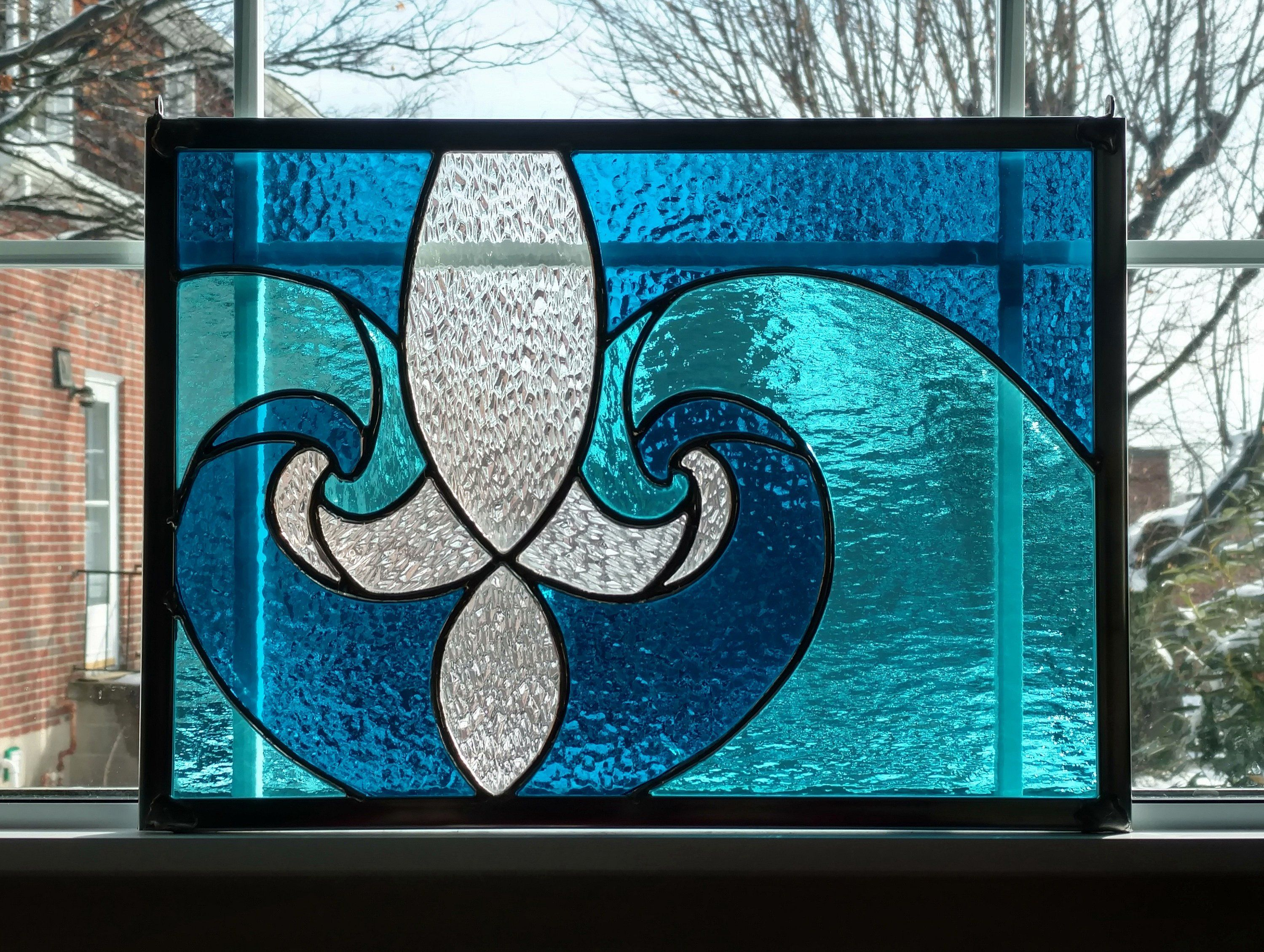 Fleur De Lis Stained Glass Window Panel, Blue Stained