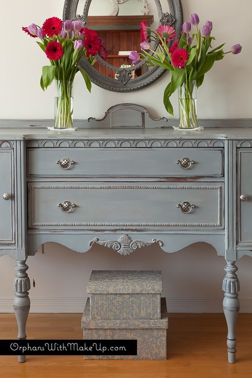 Slight Layering With Paris Grey Only On The First Coat And Paris Grey With A Bit Of Graphite Adde Shabby Chic Furniture Shabby Chic Dresser Chic Furniture