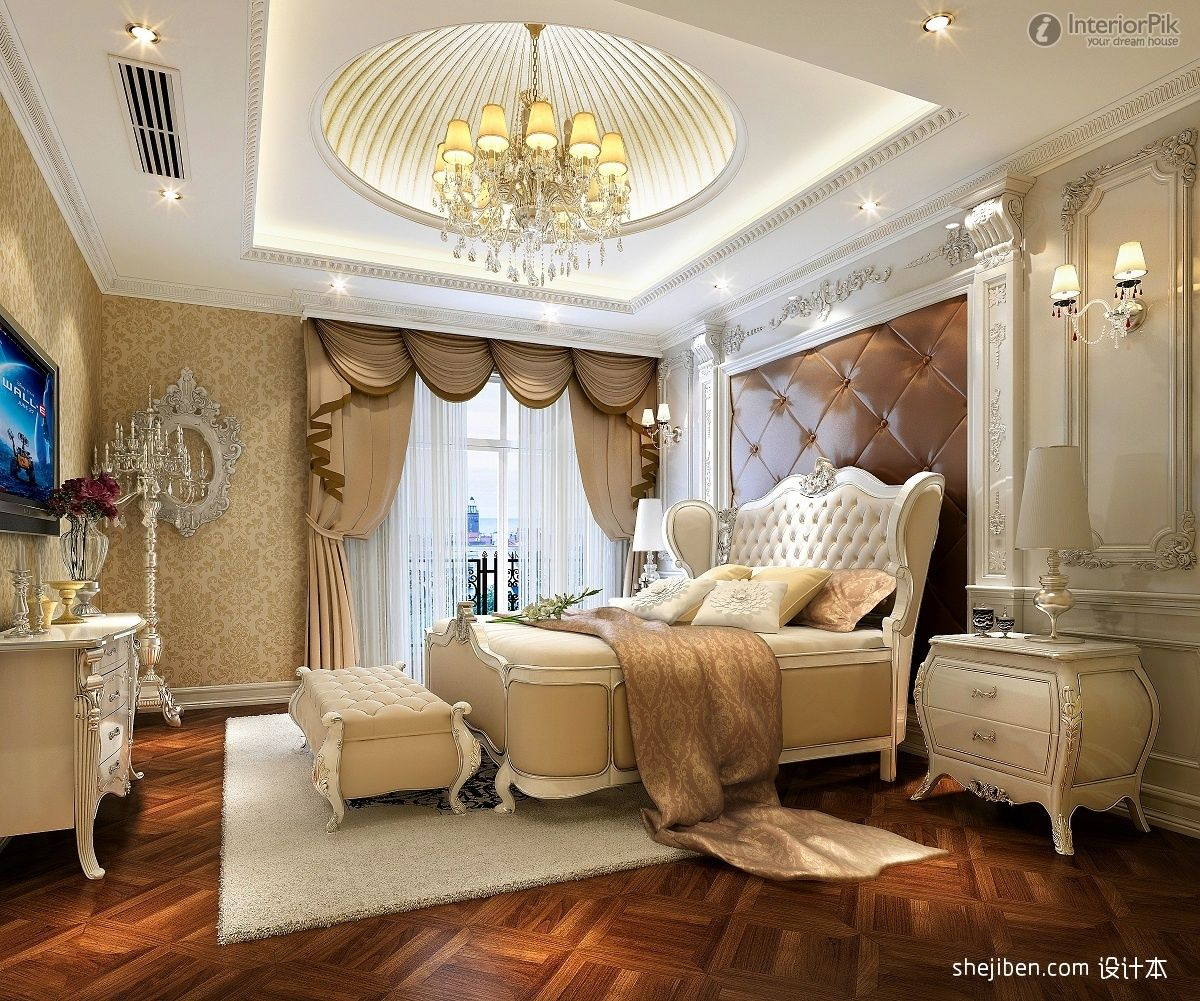 European Style Villa Bedroom With Modern Ceiling Ideas And