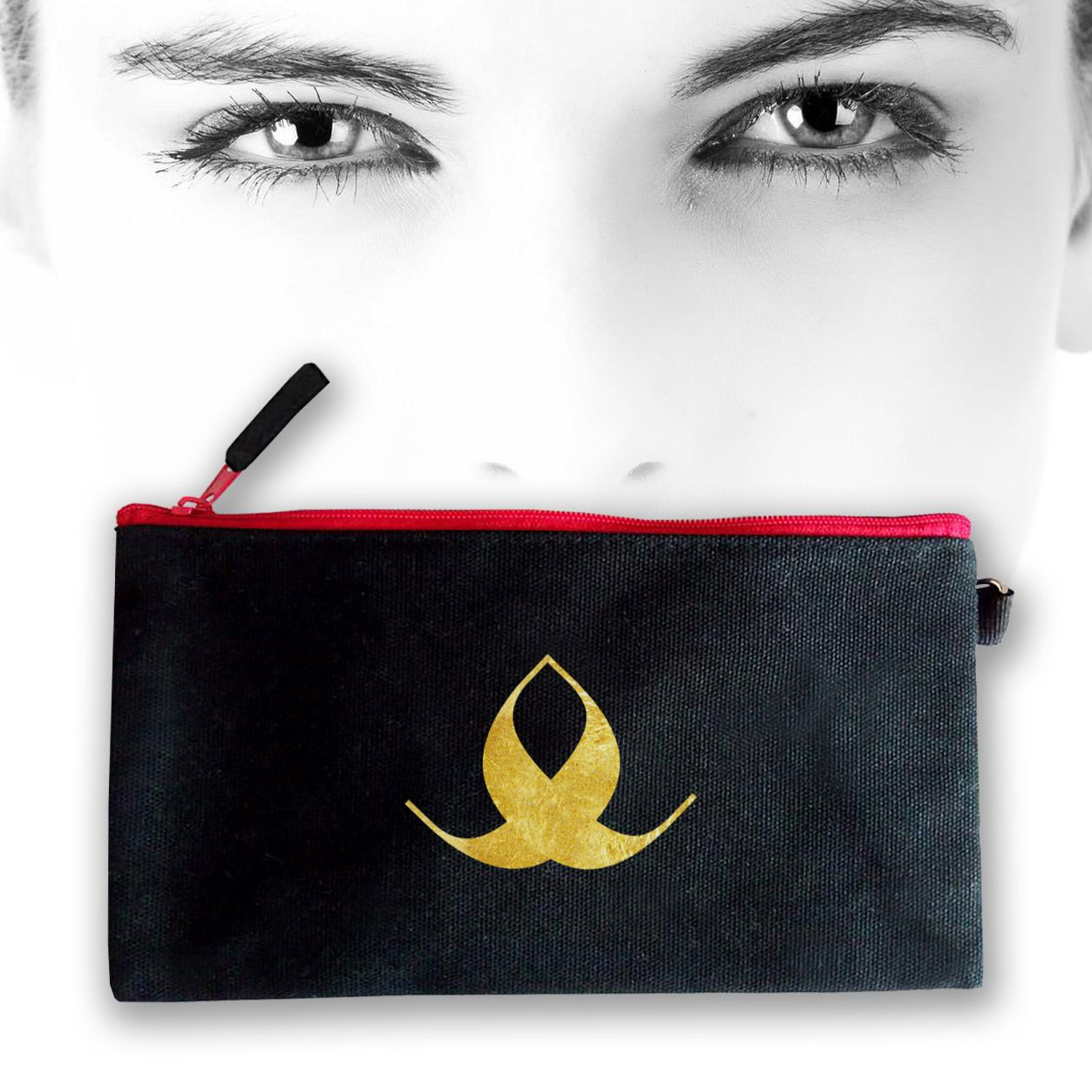 Black Canvas Cosmetic Bag With Gold Foil Logo