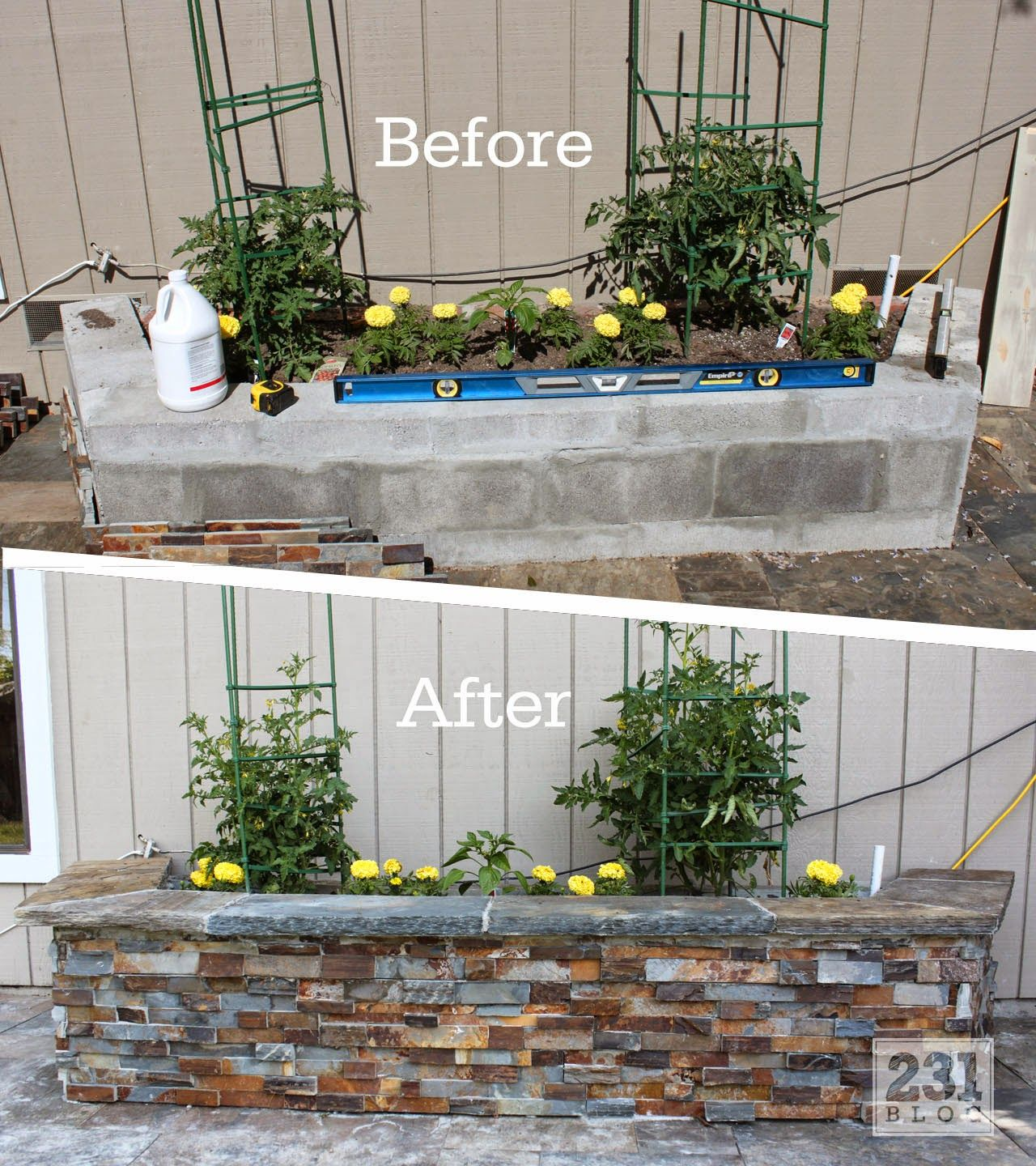DIY Slate Ledger Stone Planter Boxes With A Bench. Boxes Built With Cinder  Block And