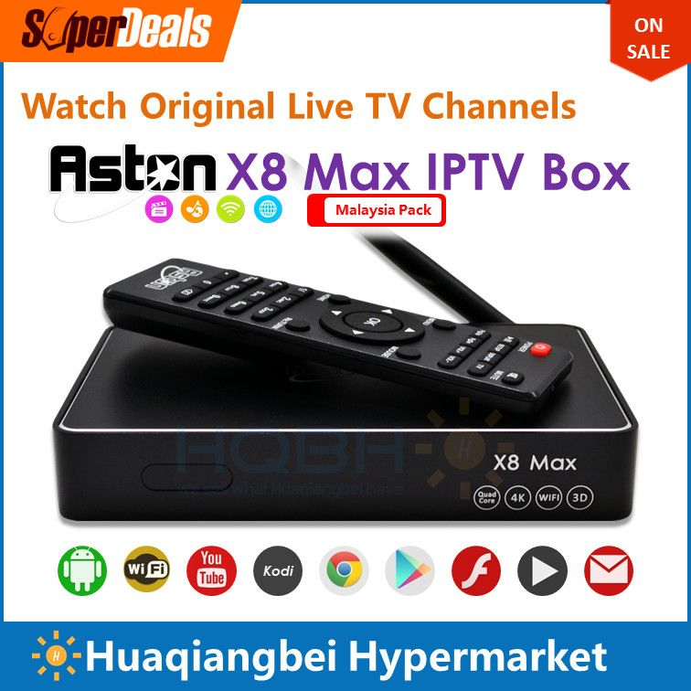 Aston X8 Max Android IPTV Box Malaysia Pack with Malay