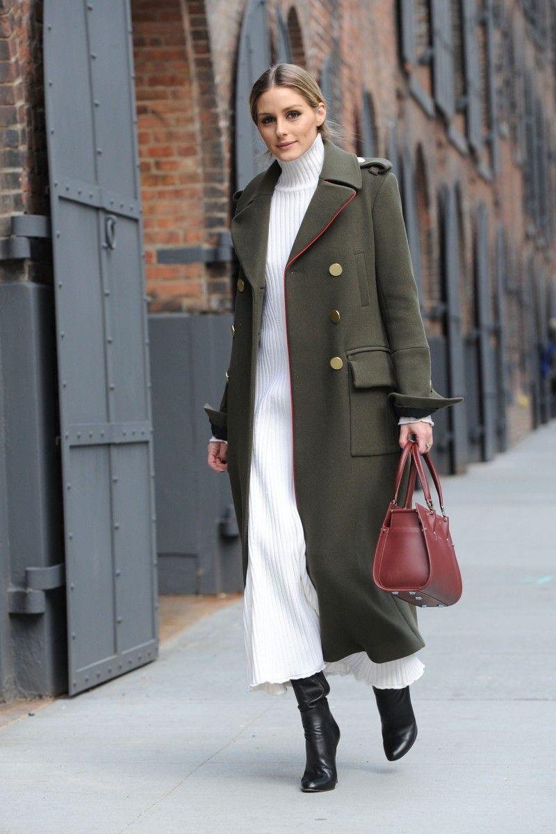 c3de8eed85 Olivia Palermo street style...khaki green military coat, white ribbed midi  dress, black boots and a burgundy handbag | celebrity fashion | chic  outfits ...