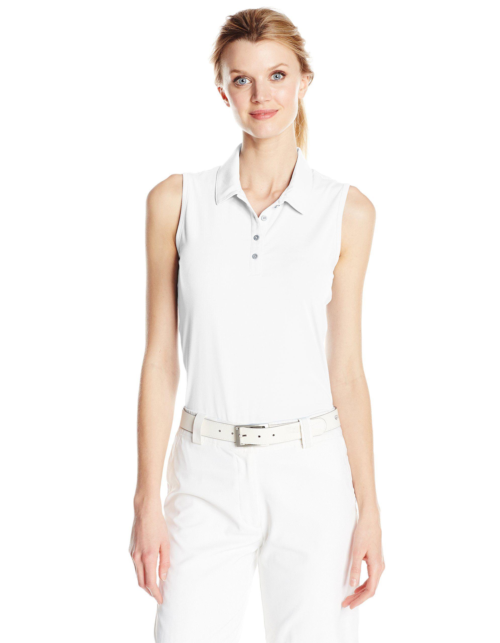 57c7951eab6d72 Women Golf Clothing - adidas Golf Womens Essentials Cotton Sleeveless Tee  White XLarge