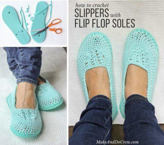 Flip Flop Crochet Slippers Free Pattern | Handarbeiten, Häckeln und ...