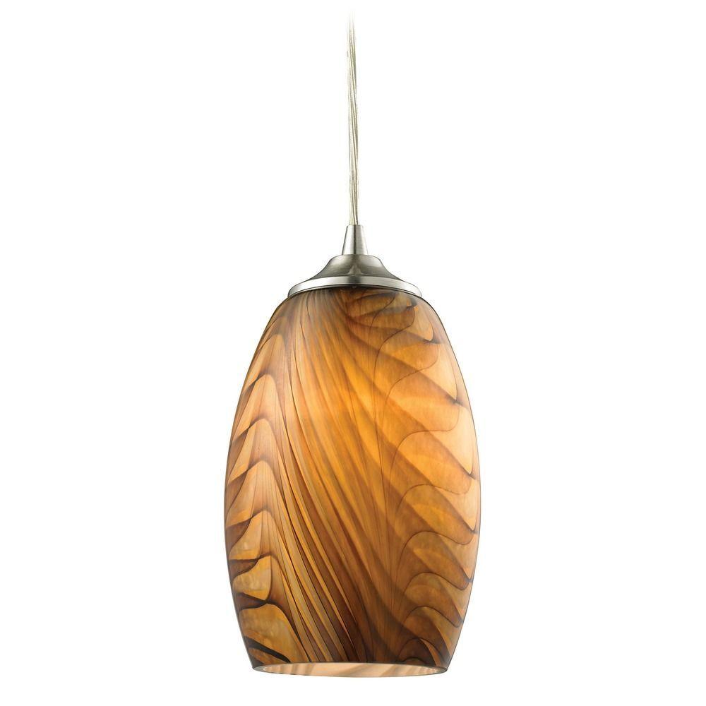 Elk Lighting Tidewaters Satin Nickel Mini Pendant Light With Bowl Dome Shade Elk Lighting Mini Pendant Lights Glass Shades