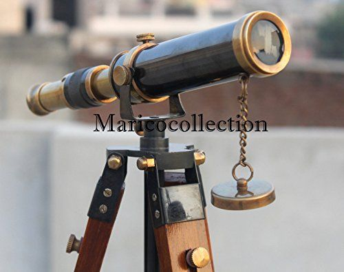 Vintage Solid BrassTelescope with wooden Tripod-High Quality lens Antique