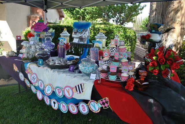 Alice In Wonderland Tim Burton Underland Birthday Party Ideas Wonderland Party Alice In Wonderland Birthday Alice In Wonderland Party