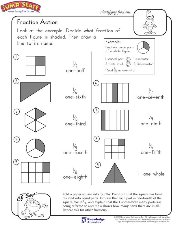 Fraction Action - 2nd Grade Math Worksheets - JumpStart ...