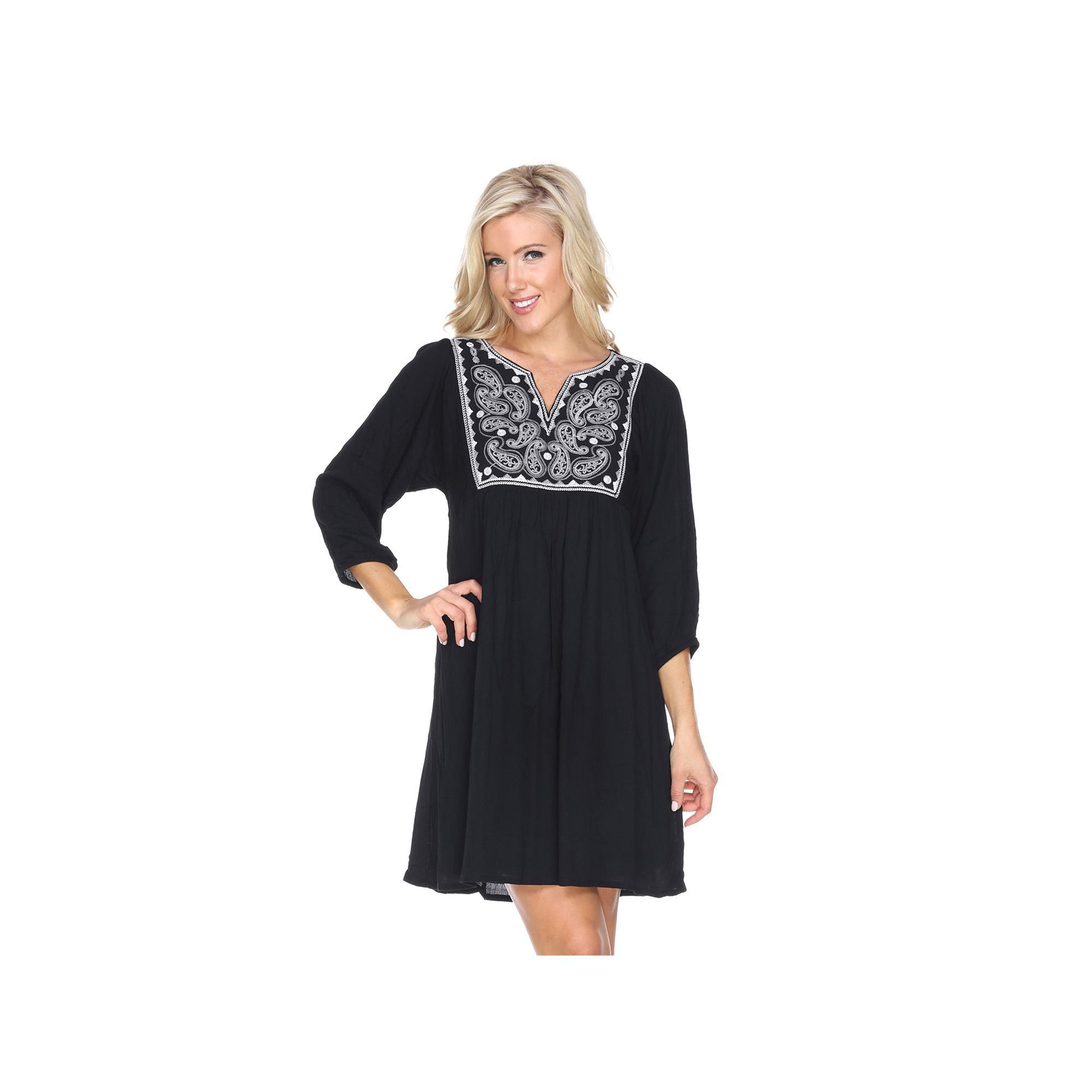 Black babydoll dress with white collar
