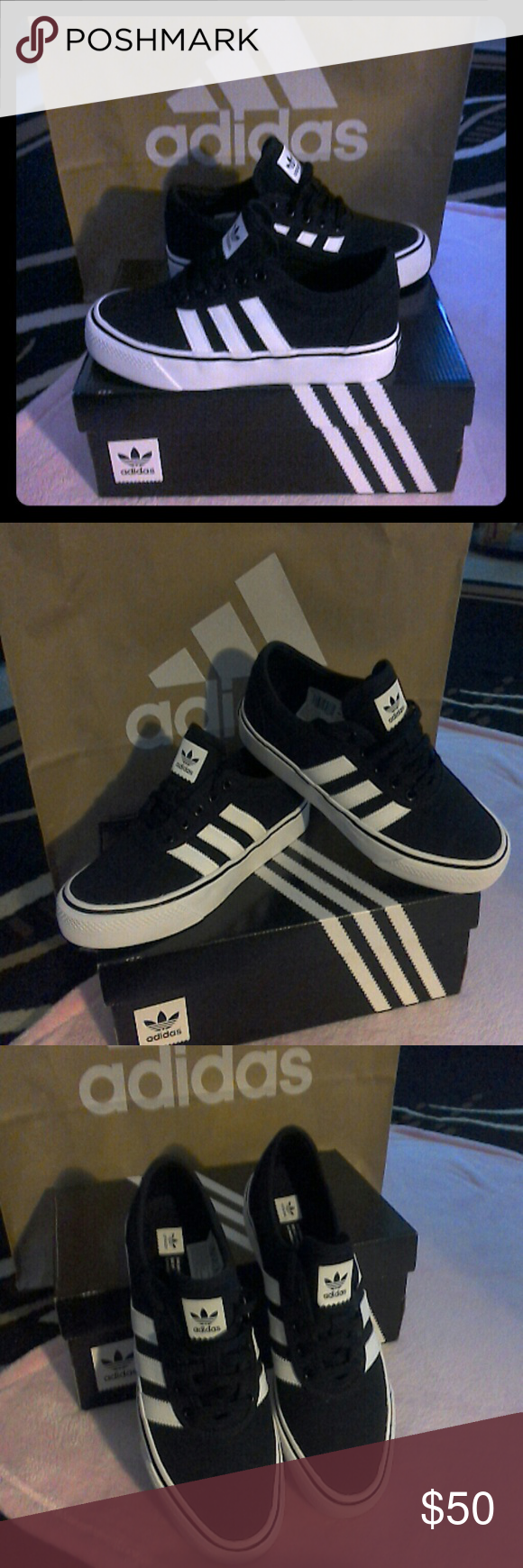 Adidas Adi- Ease J Sneakers Beautiful black and white canvas logo sneakers.  Youth size 1cdf2854e6