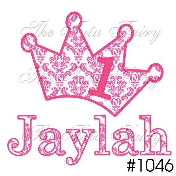Pink Princess Damask Crown Personalized Birthday Shirt T Name Age Baby Toddler 12 18 2t 3t 4t 5t 5 6 7 1st First Custom Headband On Etsy 10 99