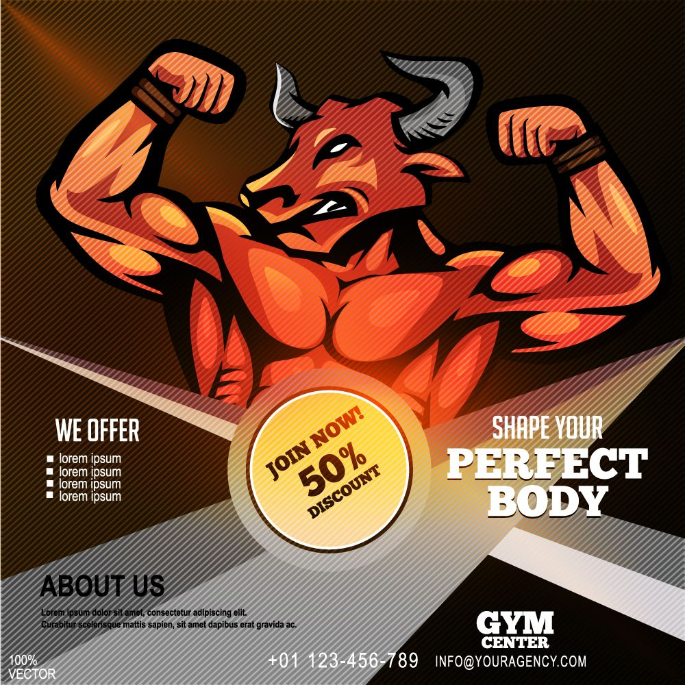 Fitness banner  flyer Fitness banner  flyer of athletic sportsman with buffalo head on abstract background Fitness workout Design template with sample text for promoting...