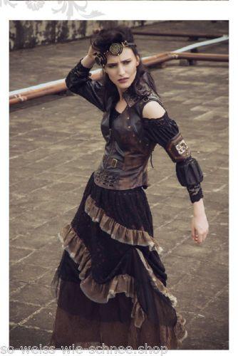 RQ-BL Steampunk Rüschen Rock Gothic Western Vintage Tulle Skirt Endzeit SP151