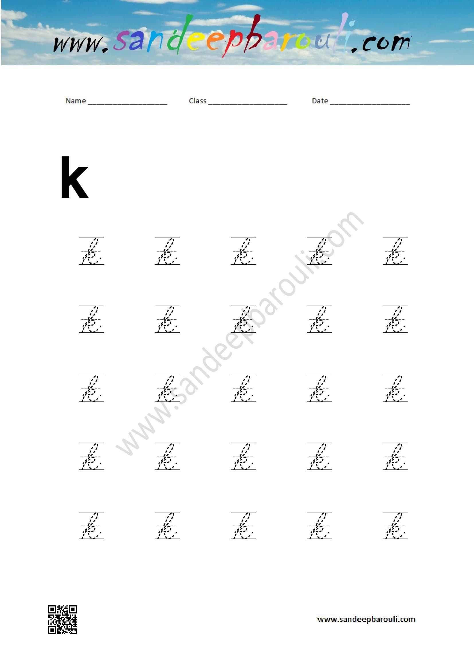Cursive Writing Worksheet For Small Letter K Educational