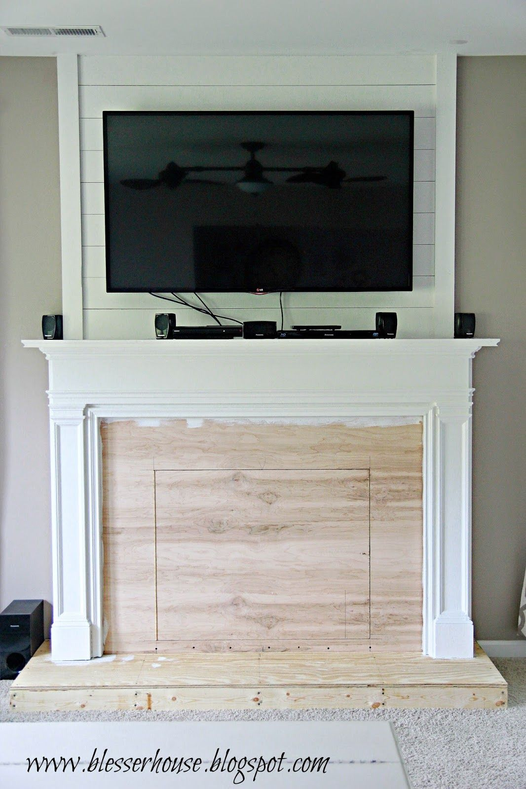 Pinterest Faux Fireplace Part - 42: Painting The Faux Fireplace - Blesser House Featured On @Remodelaholic