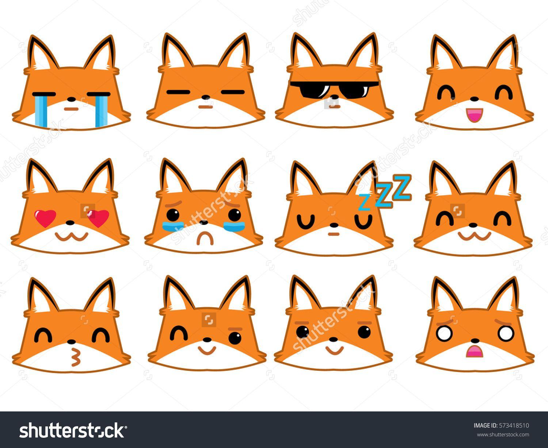 Kawaii japanese style  Set of funny fox emoticons - smiling