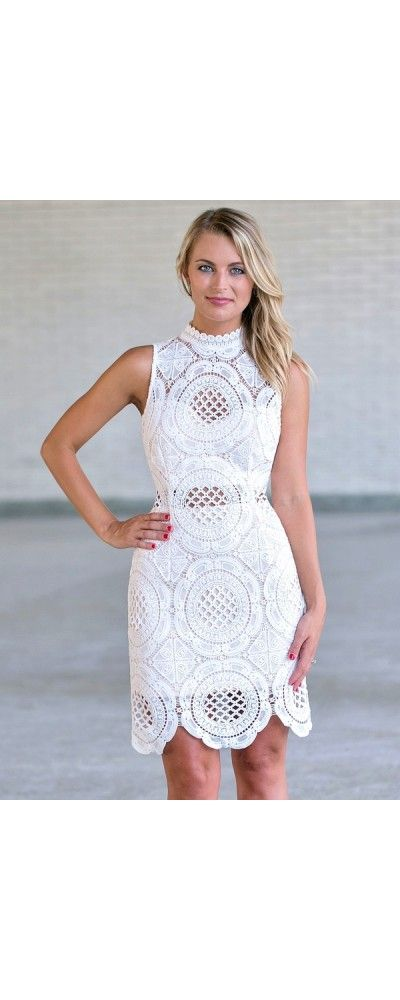 708cc8da4d6 Lily Boutique Medallion Lace Doily High Neck Sheath Dress in White