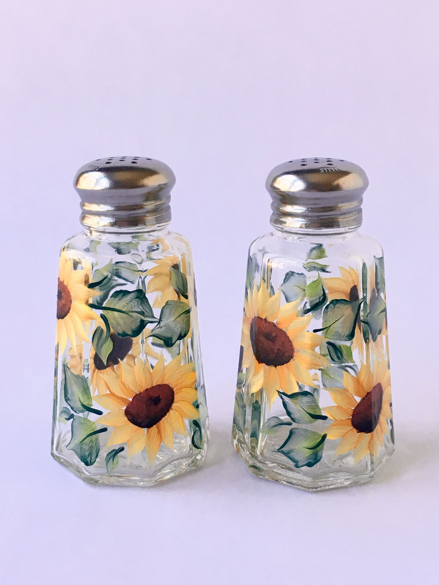 Beautiful Cheerful Sunflowers And Leaves Hand Painted Encircling Quality Salt U0026 Pepper  Shaker Set. Stainless