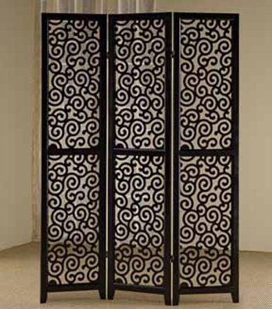Amazon Com 3 Panel Swirl Design Black Room Screen Divider New Home