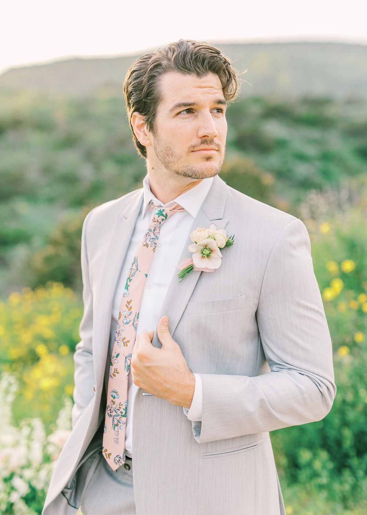 Summer Groom Style Light Gray Suit Photography Mandy