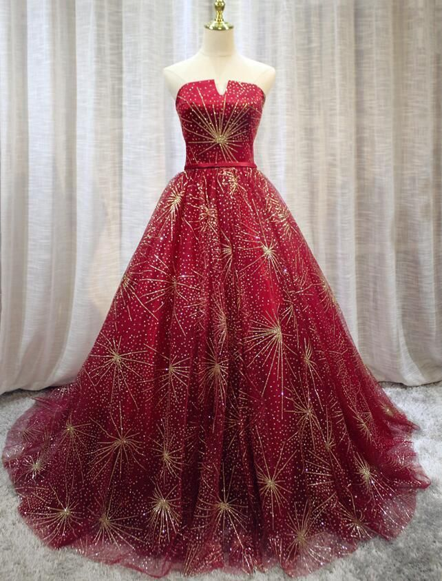 Beautiful Red Sparkle Lace Up Long Prom Dress Dark Red Formal Gowns