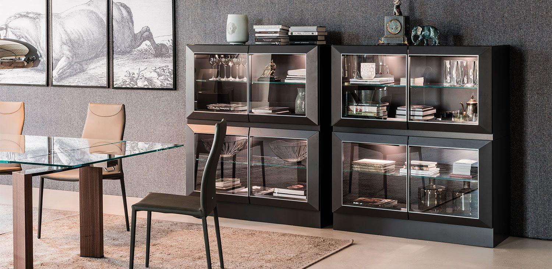 Hilton Sideboards Sideboard Display Cabinet In Matt White Op7 Or Graphite Op69 Lacquered Frame Door Profiles Lacquered In M Moderne Vitrinen Glasschrankturen Und Speisezimmereinrichtung