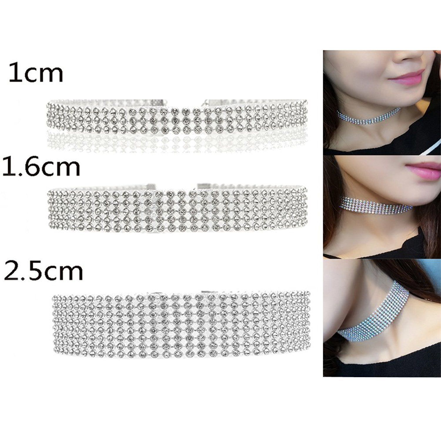 0a499a05e04faf CrazyPiercing Rhinestones Chain Necklaces Tattoo Choker Statement Jewelry 3  PCS ** See this great product.(It is Amazon affiliate link) # ...