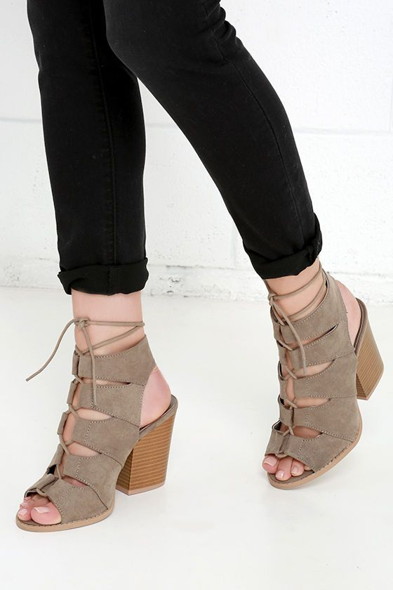 Honey Babe Taupe Suede Block Heel Lace-Up Sandals at Lulus.com!