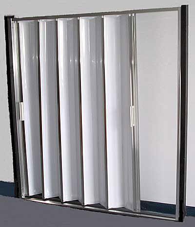 accordion style trackless shower door