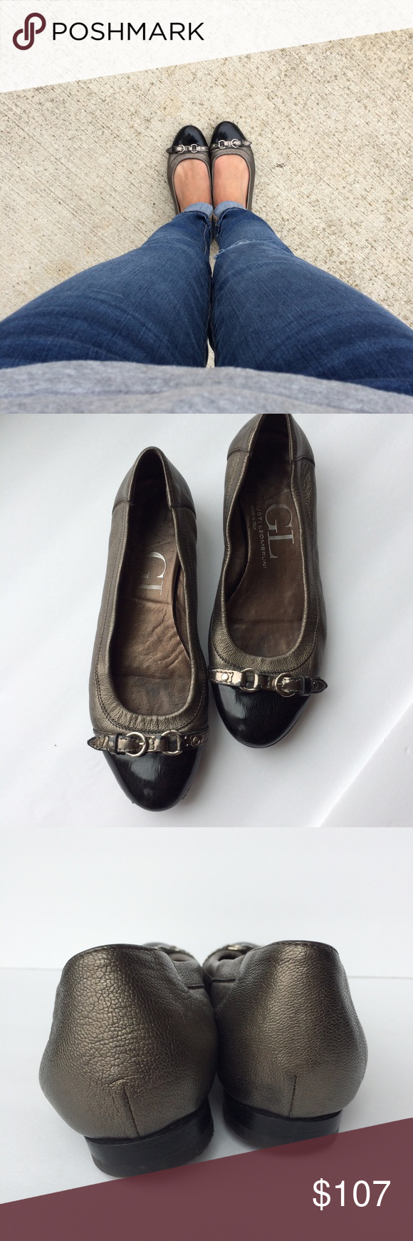 37e043819d7bf AGL Cap Toe Ballet Flats Black Bronze Leather The iconic shoe from AGL, the  cap