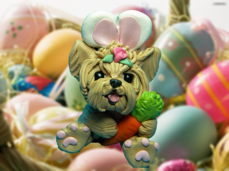 Yorkie Yorkshire Terrier Easter Bunny Dog With By Sallysbitsofclay Yorkie Yorkshire Terrier Yorkie Yorkshire Terrier