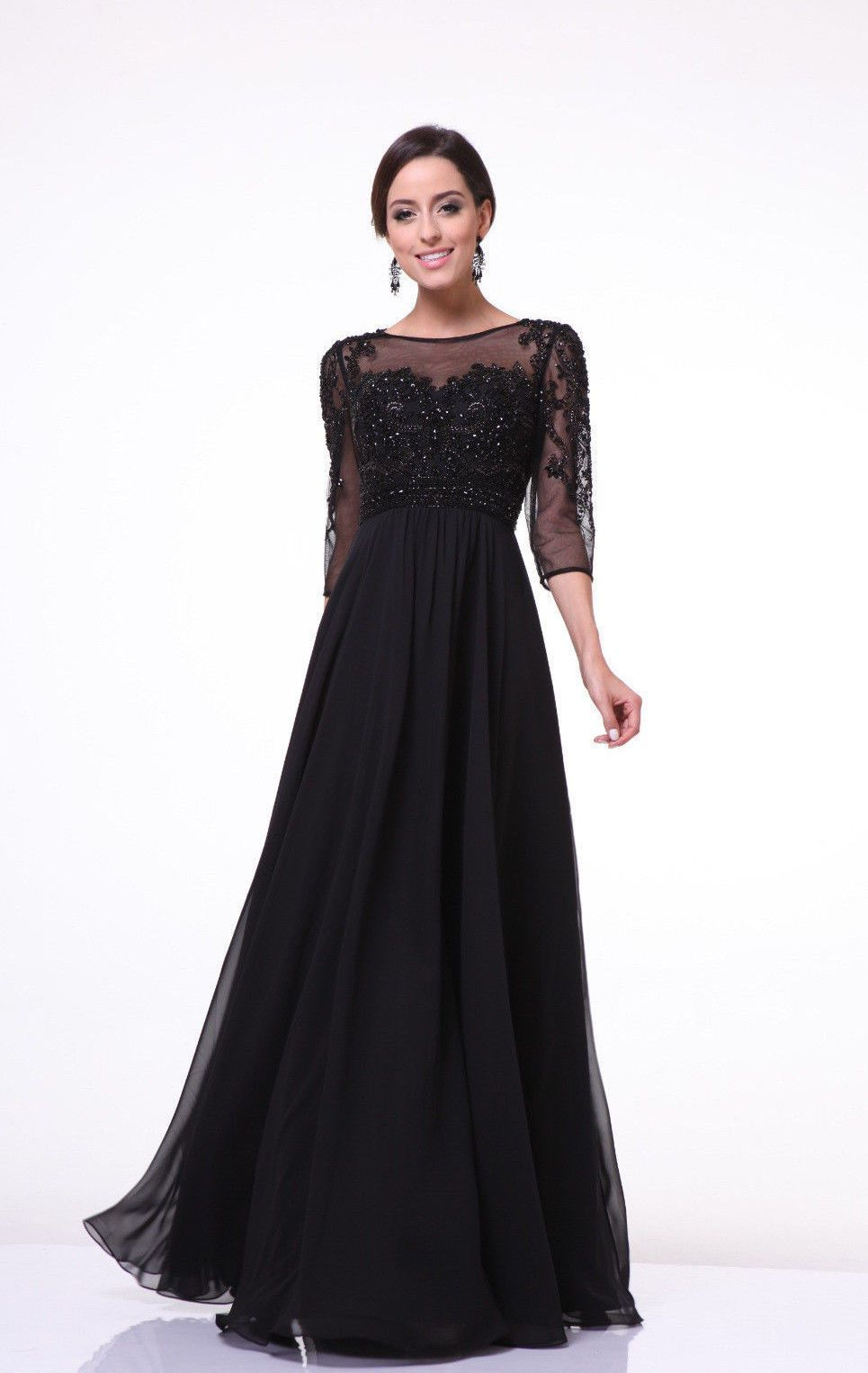 long mother of the bride dress with sleeves plus size