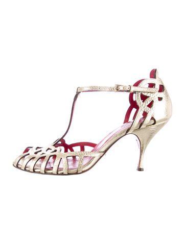 Cesare Paciotti Metallic Cut-Out d'Orsay Sandals
