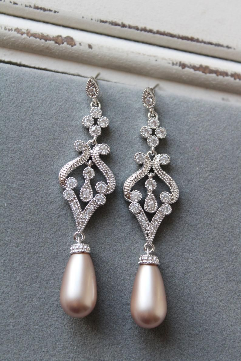 Art Deco Style Earrings Uk Champagne Bridal Earrings Wedding Earrings Art Deco Vintage