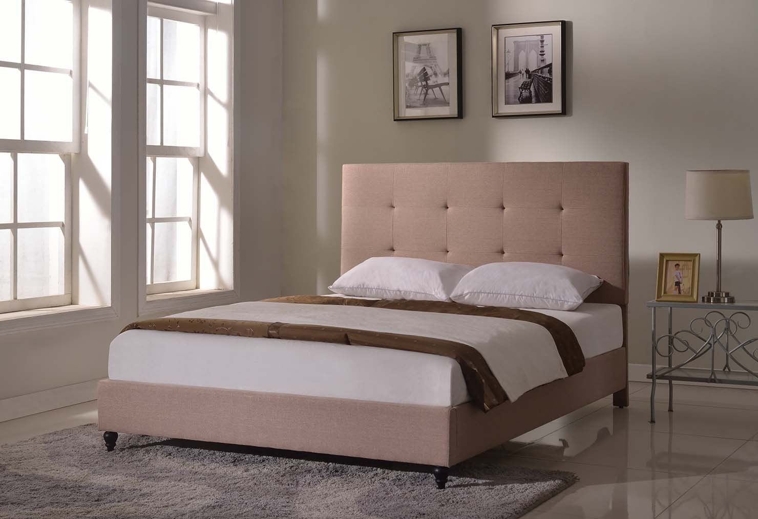 "HomeLife® 47"" Light Brown Linen Headboard Platform Bed"