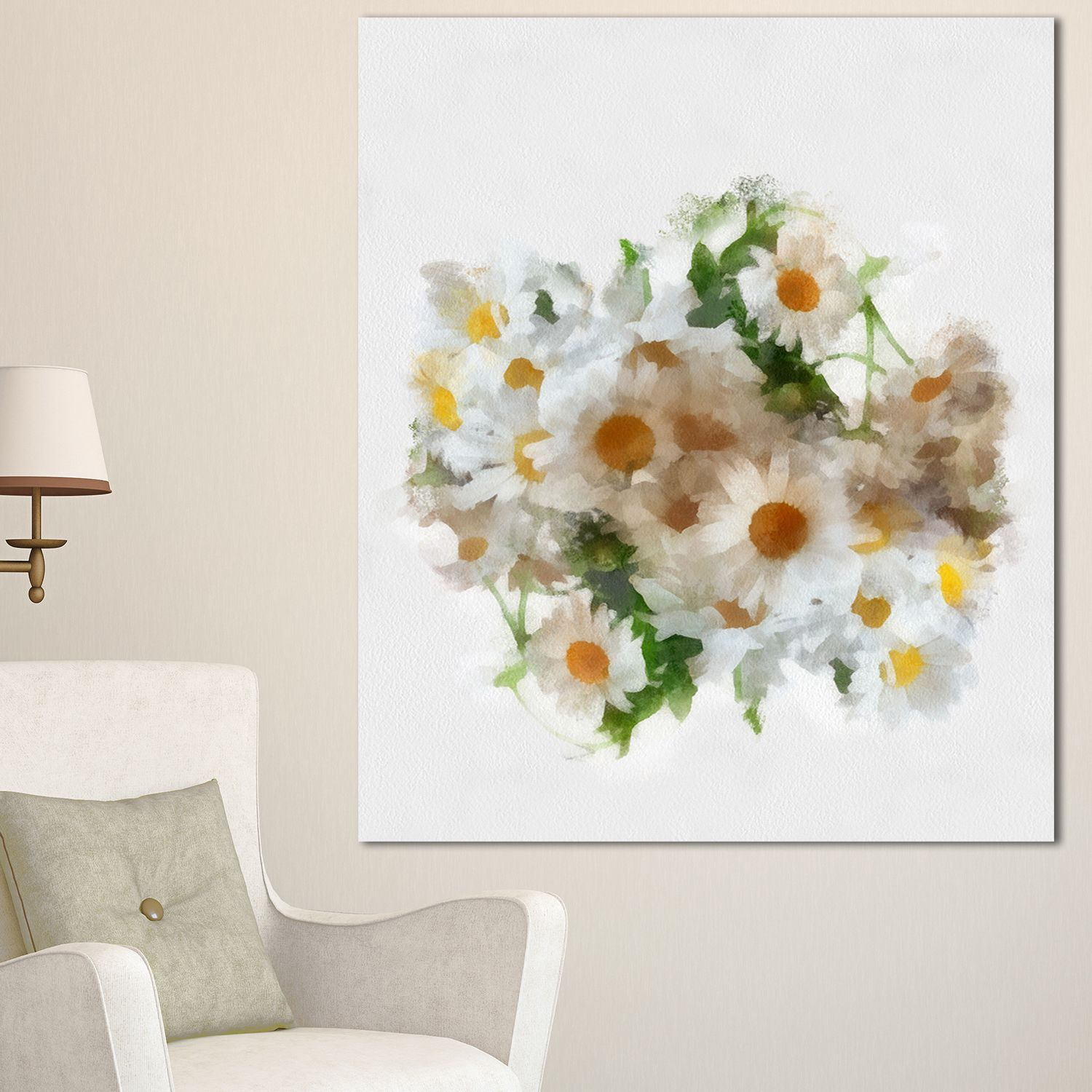 DESIGN ART Designart 'Bunch of Chamomiles Watercolor' Flower Artwork on Canvas