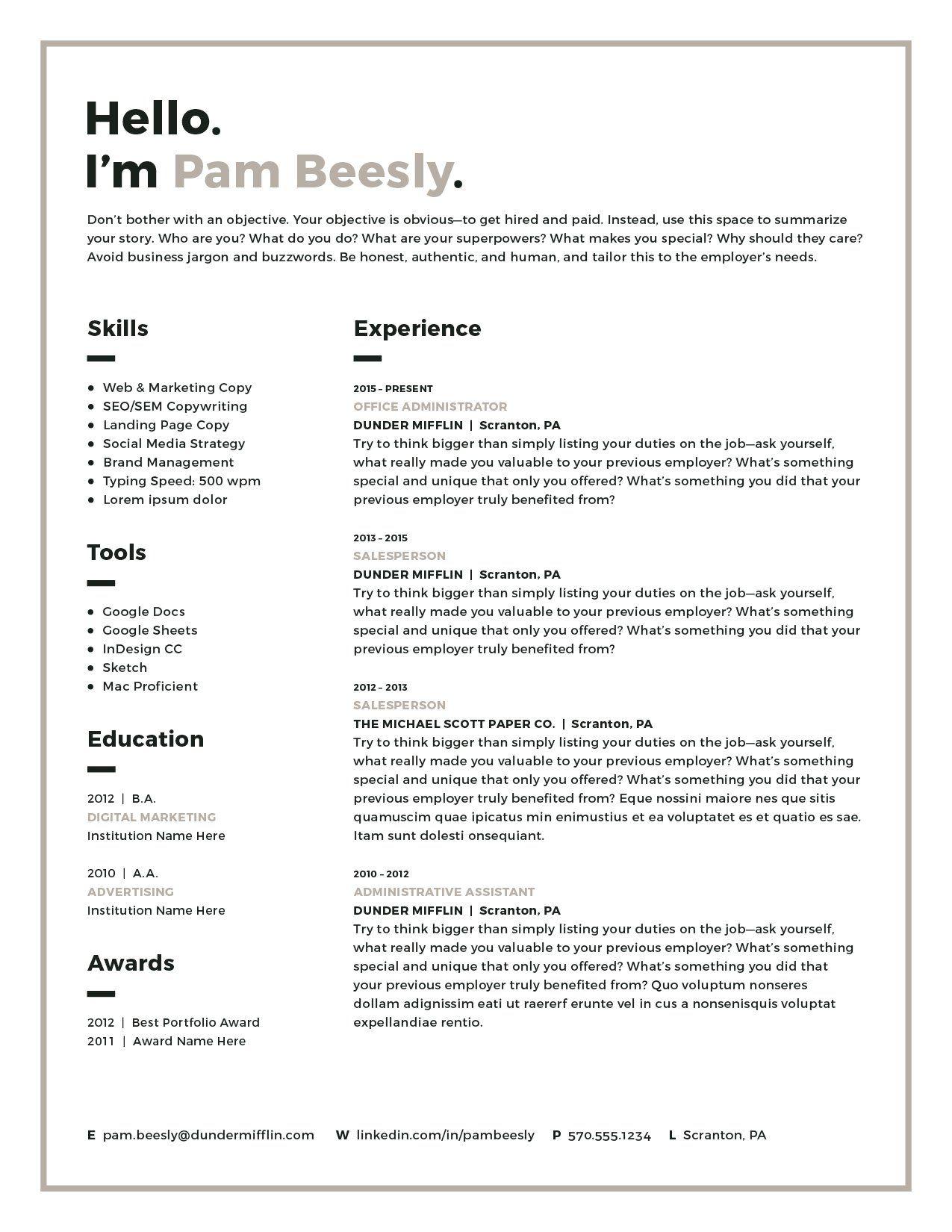 2 Page Resume Template / CV Template Resume templates