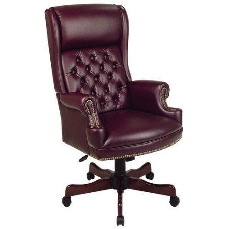 Office Star Products Work Smart Deluxe High Back Traditional Executive Chair With Arms Mahogany Finish