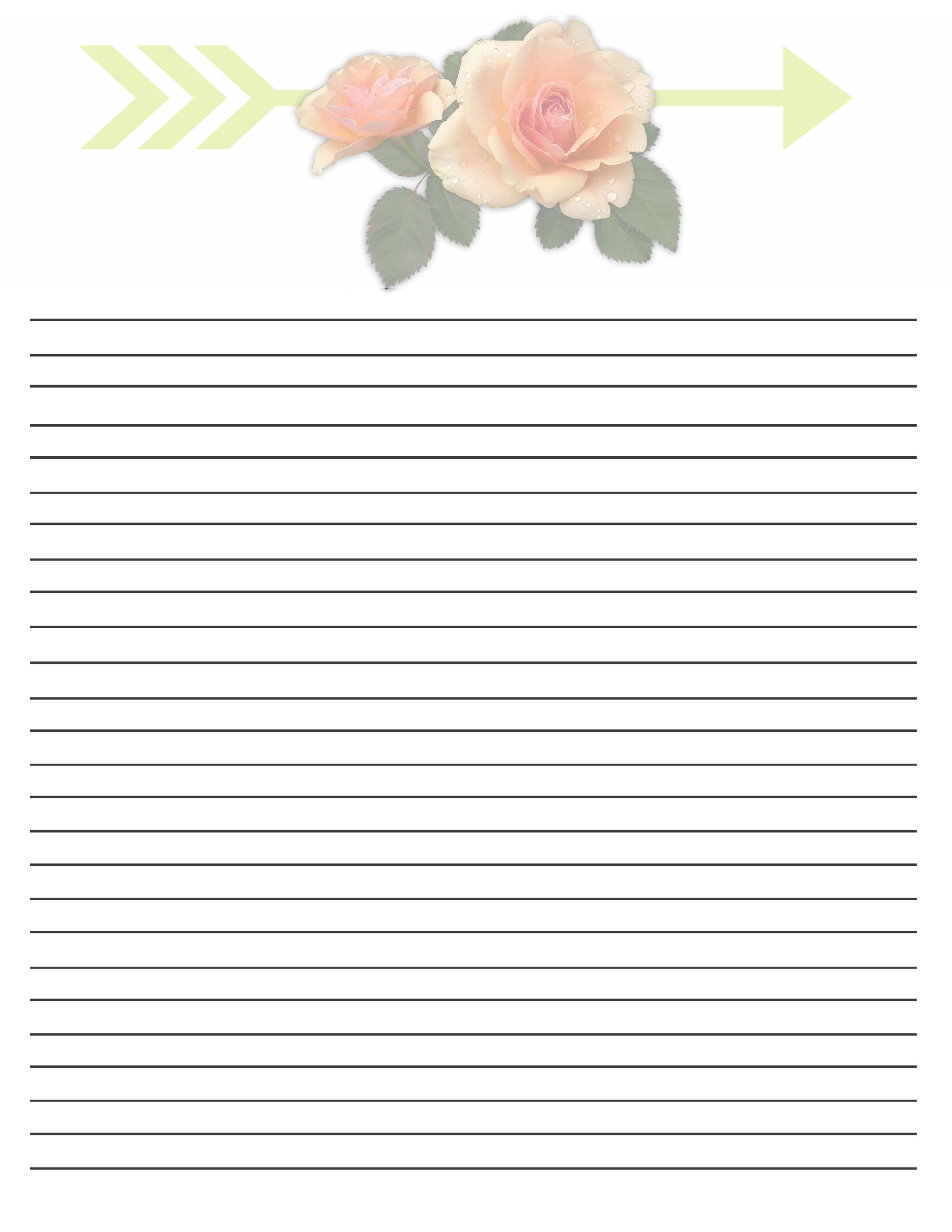 Floral Writing Paper Printables Letter Paper 85 X 11 In Floral