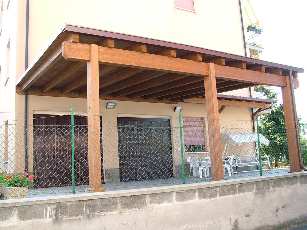 Porticato con colonne ad una falda linea classica for Costruire una tettoia addossata