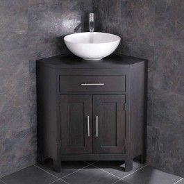 Large Corner Dark Oak Vanity Unit With Round Basin Bundle 400mm Diameter Ceramic Sink With Tap And Waste Alta Corner Bathroom Vanity Corner Sink Bathroom Corner Vanity